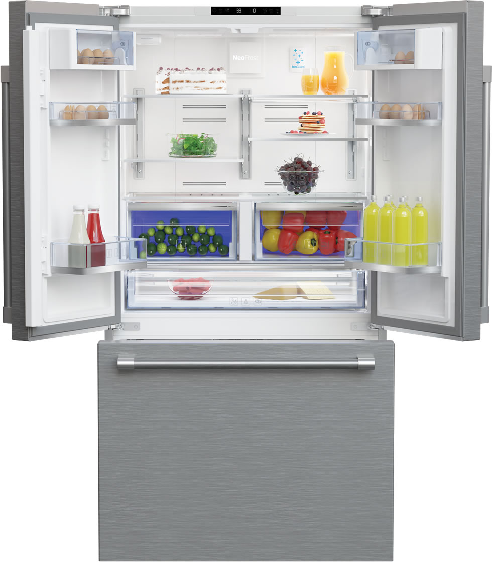 36 inch French Three-Door Stainless Steel Refrigerator by Beko