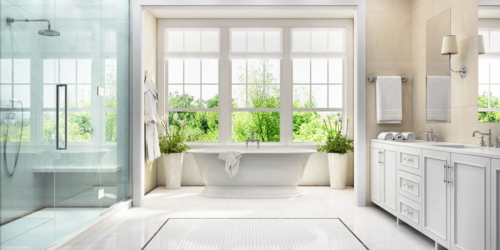 White bathroom with Vadara Quartz Surface