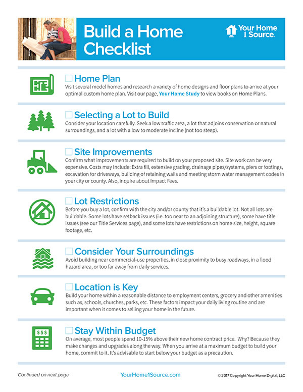Build a home for Building a new home checklist