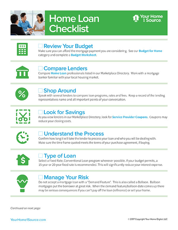 home loan checklist