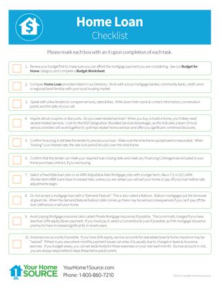 home loan checklist