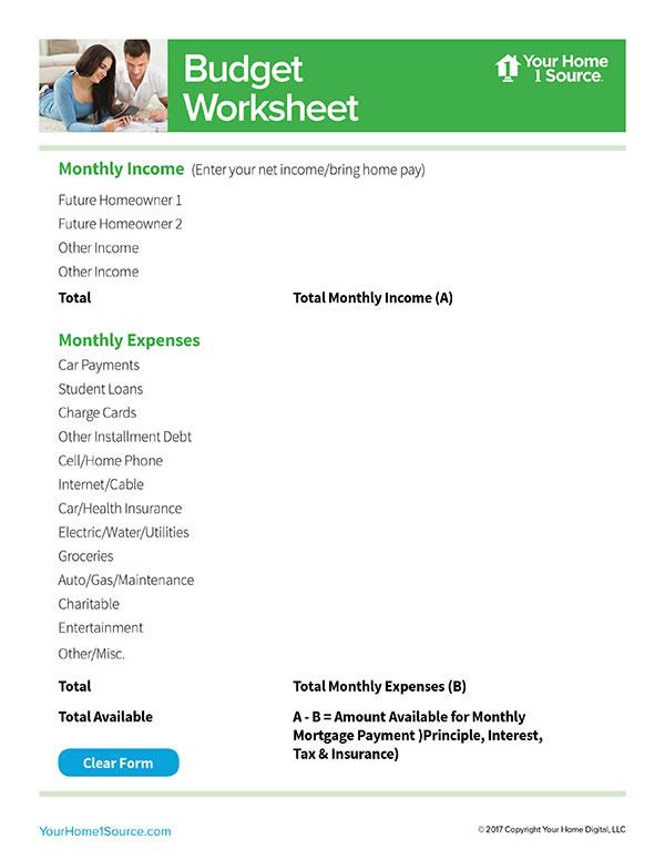 Budget for Home – Mortgage Worksheet